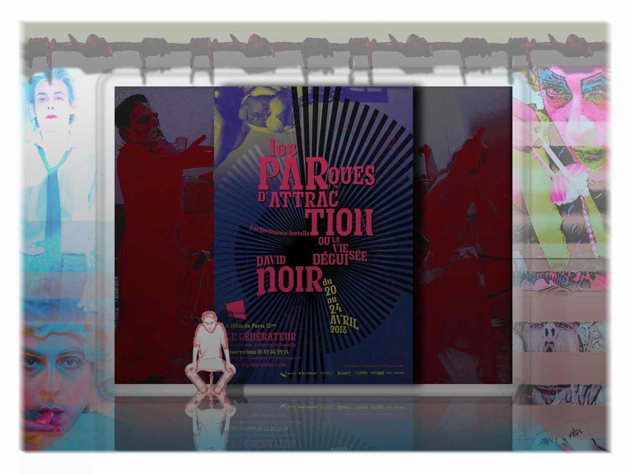 """""""Les Parques d'attraction"""" - Performance de David Noir. Musique Christophe Imbs. Avec Valérie Brancq, Sonia Codhant, Philippe Savoir, Any Tingay et la participation du public."""