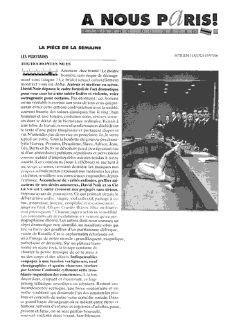 A Nous Paris - Les Puritains de David Noir - Article publié par Myriem HAJOUI